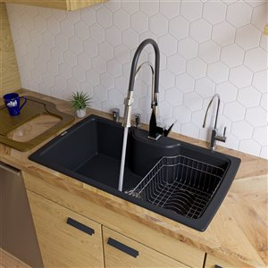 ALFI brand 19.66-in x 34.625-in Black Single-Basin Standard Drop-In 1-Hole Residential Kitchen Sink