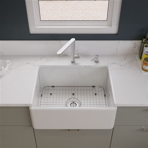 ALFI Brand Apron Front/Farmhouse Kitchen Sink - Single Bowl - 26-in x 20-in - White Fireclay