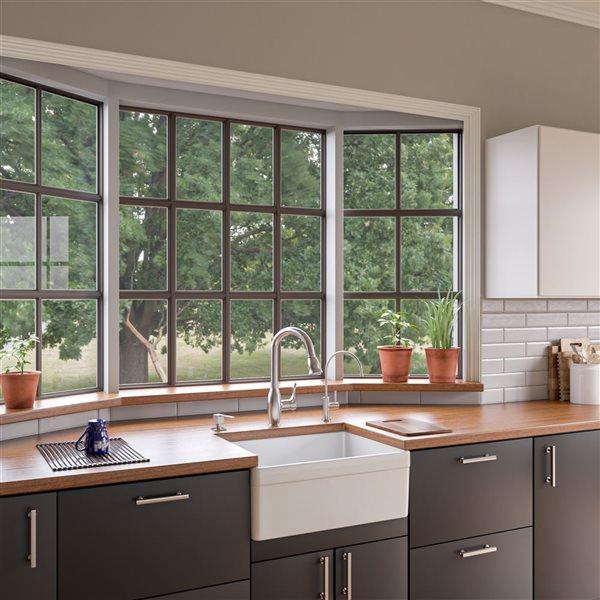 ALFI Brand Apron Front/Farmhouse Kitchen Sink - Single Bowl - 26-in x 20-in - White