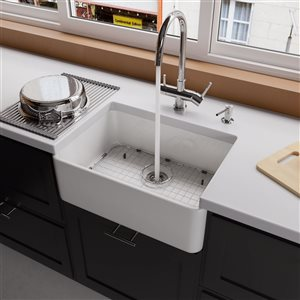 ALFI brand 23.5-in x 16-in White Single-Basin Drop-In Apron Front Farmhouse Residential Kitchen Sink