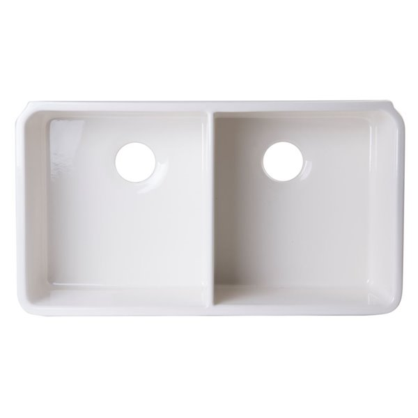 ALFI Brand 31.75-in x 17.75-in Biscuit Double-Basin Drop-In Apron Front Farmhouse Residential Kitchen Sink
