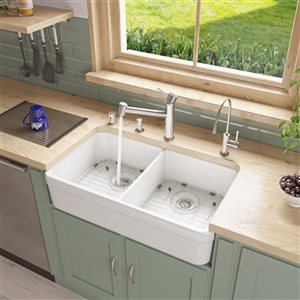 ALFI brand 32-in x 17.75-in White Double-Basin Drop-In Apron Front Farmhouse Residential Kitchen Sink