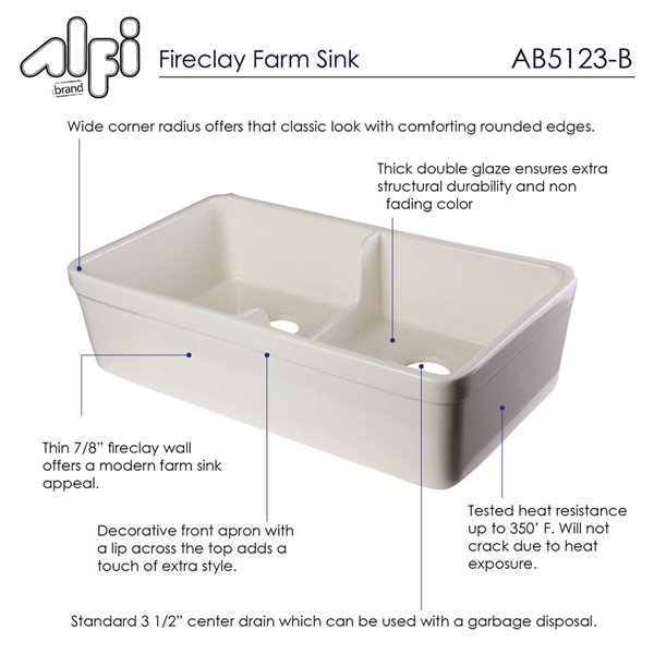 ALFI Brand Apron Front/Farmhouse Kitchen Sink - Double Bowl - 31.75-in x 17.75-in - Off-White