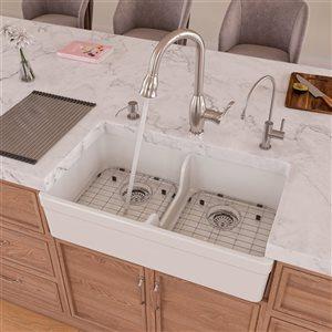 ALFI Brand Apron Front/Farmhouse Kitchen Sink - Double Bowl - 31.75-in x 17.75-in - White