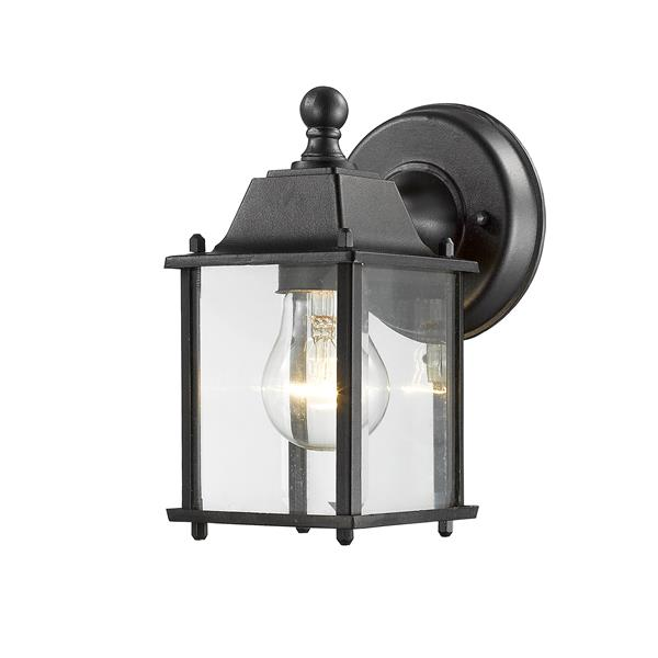 Z-Lite Waterdown 8.38-in Black Beveled Rectangular Outdoor Wall Sconce