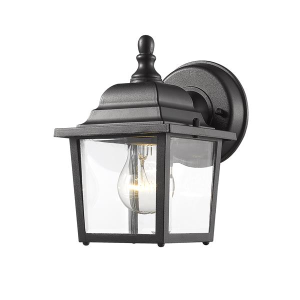 Z-Lite Waterdown 8.38-in Black Clear Beveled Outdoor Wall Sconce