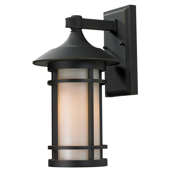 Z-Lite Woodland 14.63-in Medium Oil Rubbed Bronze Outdoor Wall Sconce