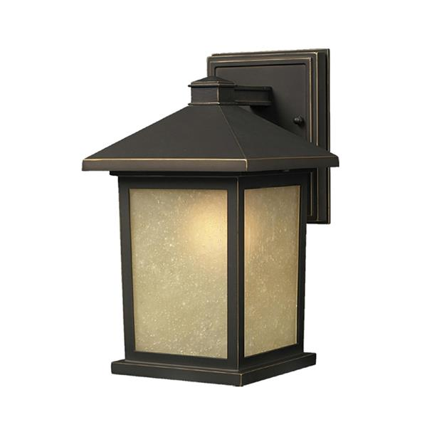 Z-Lite Holbrook 14-in Oil Rubbed Bronze Amber Glass Outdoor Wall Sconce