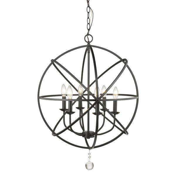 Z-Lite Tull 24-in Matte Black 6-Light Chandelier