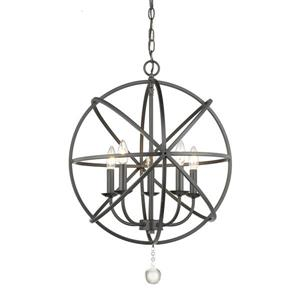 Z-Lite Tull 20-in Matte Black 5-Light Chandelier