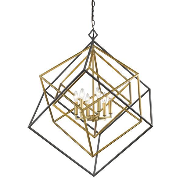 Z-Lite Euclid 25.5-in Olde Brass and Bronze 6-Light Chandelier