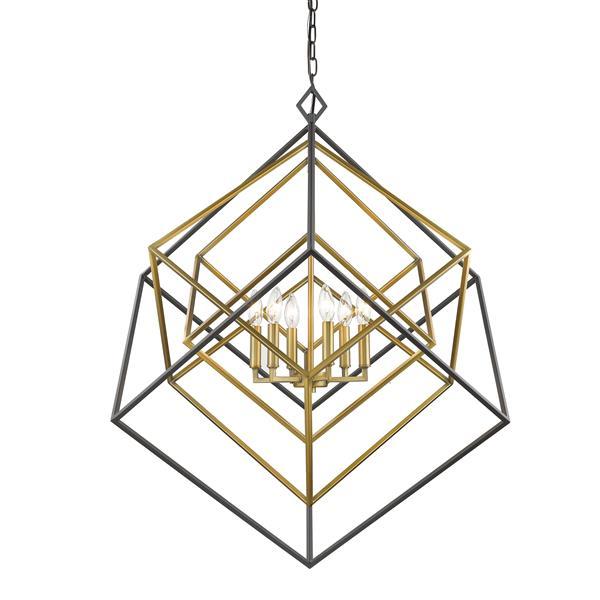 """Lustre à 6 lumières Euclid, 35,5"""", laiton antique et bronze"""