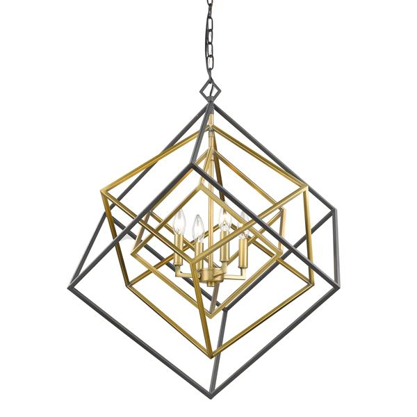 Z-Lite Euclid 29.5-in Old Brass and Bronze 4-Light Chandelier