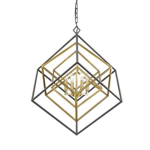 Z-Lite Euclid 29.5-in Old Brass and Bronze 4-Light Chandelier