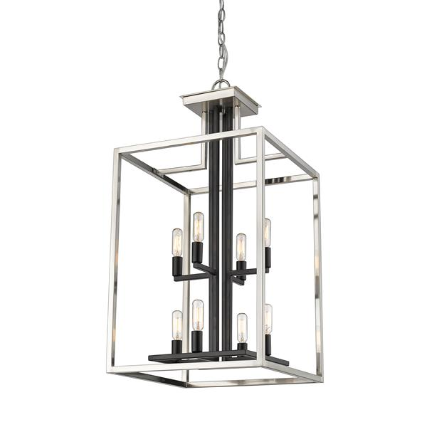 Z-Lite Quadra 8-Light 15-in Nickel and Black Chandelier