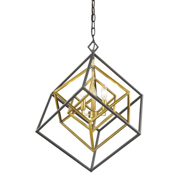 Z-Lite Euclid 23-in Olde Brass and Bronze 3-Light Chandelier