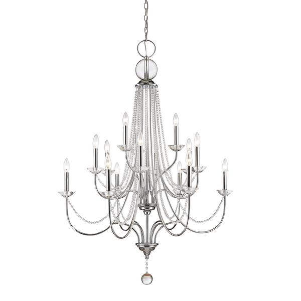 Z-Lite Serenade 36-in Chrome 15-Light Crystal Chandelier