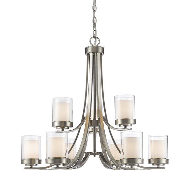 Z-Lite Willow 31.25-in Brushed Nickel 9-Light Chandelier