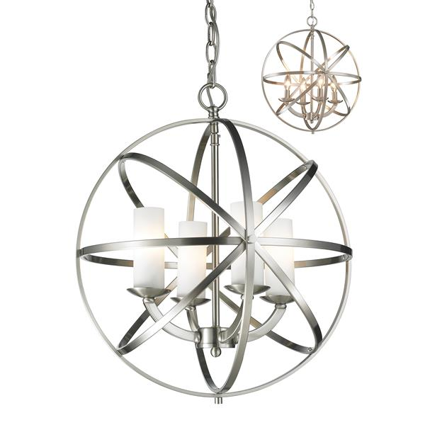 Z-Lite Aranya 18.31-In x 20.25-In Brushed Nickel 4-Light Pendant