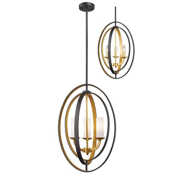 Z-Lite 15.13-in Bronze Gold Ashling 3 Light Pendant
