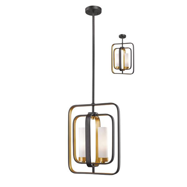 Z-Lite Aideen 11-in x 14.75-in Bronze and Gold 2-Light Mini Pendant