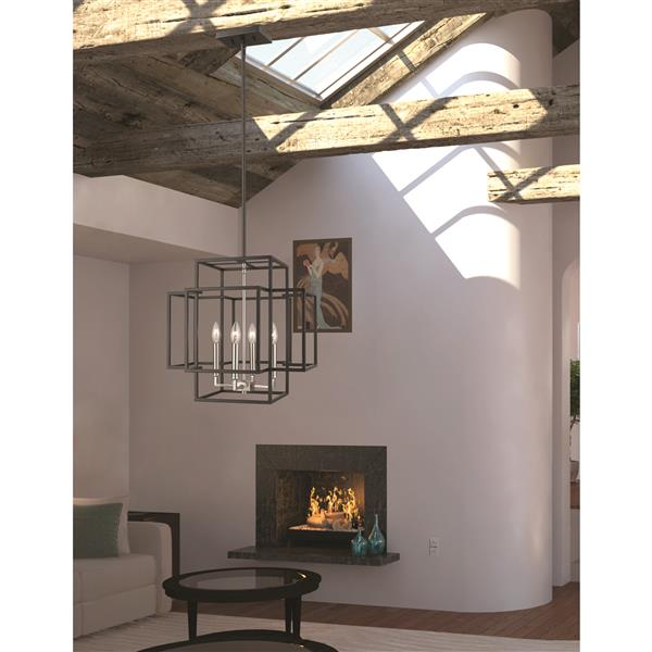 Z-Lite Titania 4-Light Pendant - 18-in - Black and Brushed Nickel