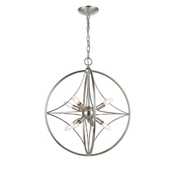 "Suspension à 8 lumières Cortez, 20"", nickel brossé"