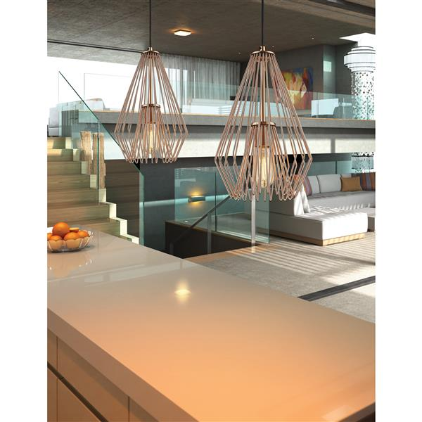 Z-Lite Quintus 9.25-In Copper 1-Light Mini Pendant Light