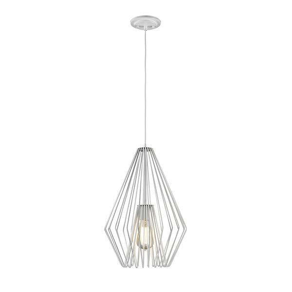Z-Lite Quintus 12.25-In Gloss White 1-Light Mini Pendant Light
