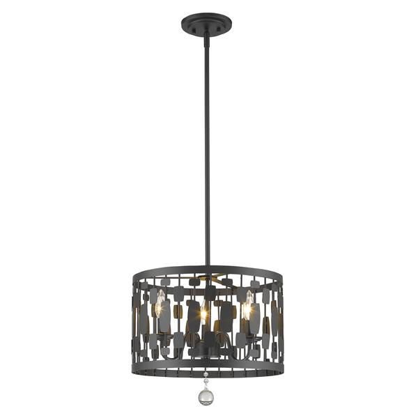 Z-Lite Almet 15-In x 15.75-In Bronze 3 -Light Pendant
