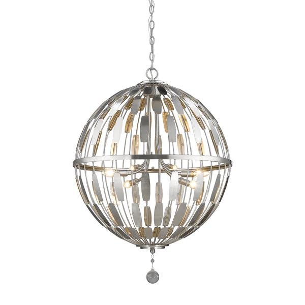 "Suspension à 6 lumières Almet, 24,25"", nickel brossé"