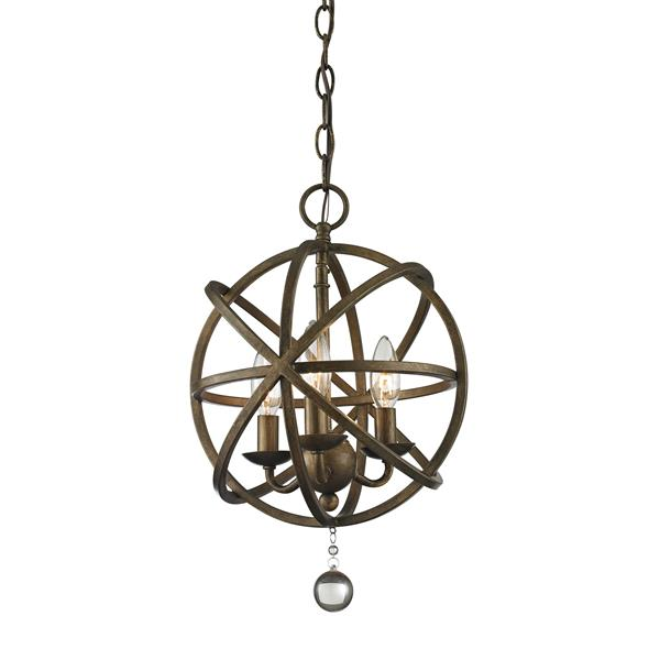 "Suspension à 3 lumières Acadia, 12"", bronze doré"
