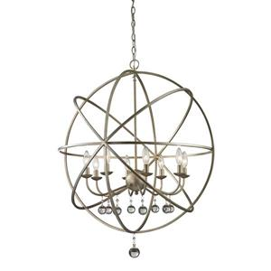 Z-Lite Acadia 30-In x 35.5-In Antique Silver 8-Light Pendant