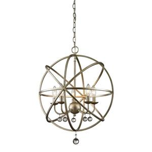 Z-Lite Acadia 20-In x 25-In Antique Silver 5-Light Pendant