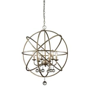Z-Lite Acadia 24-In x 29.5-In Antique Silver 6-Light Pendant
