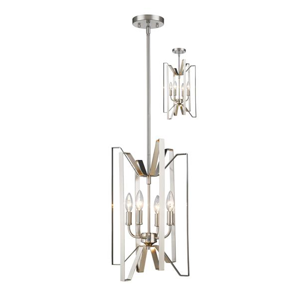 Z-Lite Marsala 12-In Brushed Nickel 4 Light Pendant Light