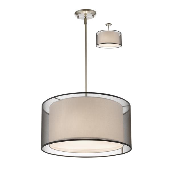 Z-Lite Sedona 3-Light Convertible pendant - 18-in - Brushed Nickel