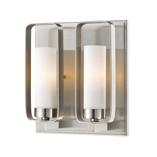 Z-Lite Aideen 10.25-in x 9-in x 4-in 2-Light Brushed Nickel Wall Sconce