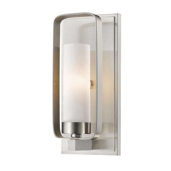Z-Lite Aideen 10.25-In x 4.50-In x 4-In Light Brushed Nickel Wall Sconce