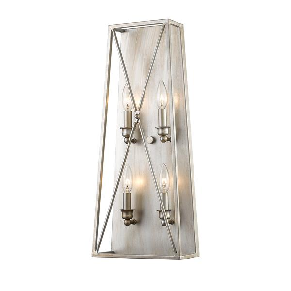Z-Lite Antique Silver 4 Light Tressle Wall Sconce