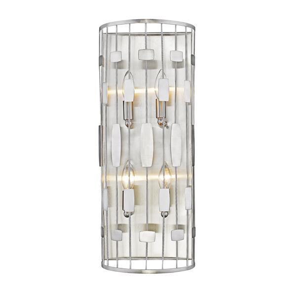 Z-Lite Almet 10-In x 9.25-In x 5.25-In 4-Light Brushed Nickel Wall Sconce