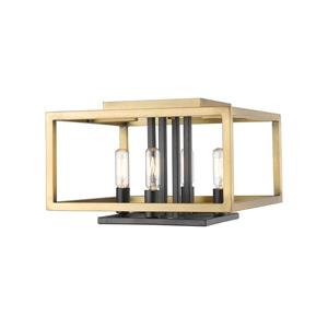 Z-Lite Quadra 13-in Olde Brass and Bronze 4-Light Flush Mount