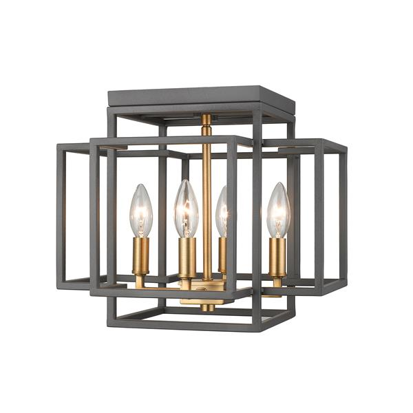 Z-Lite Titania 14-in Olde Brass and Bronze Flush Mount