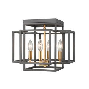 """Plafonnier à 4 lumières Titania, 14"""", laiton et bronze"""