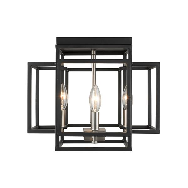 Z-Lite Titania 14-in Black and Brushed Nickel 4-Light Flush Mount