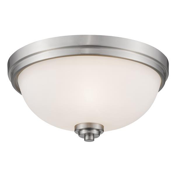 Z-Lite Ashton 15-in Brushed Nickel  3 Light Flush Mount Light