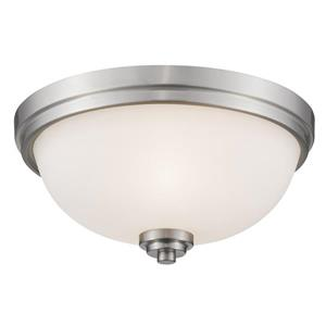 Z-Lite Ashton 15-in Brushed Nickel  3 Light Flush Mount Light