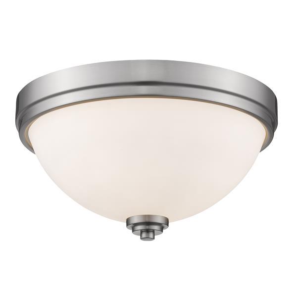 Z-Lite Ashton 13-in Brushed Nickel 2 Light Flush Mount Light