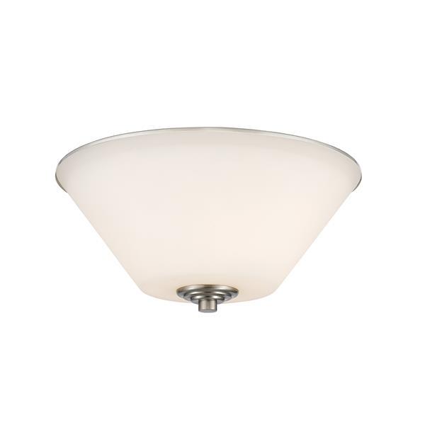 Z-Lite Jarra 13-in Brushed Nickel 2-Light Flush Mount Light