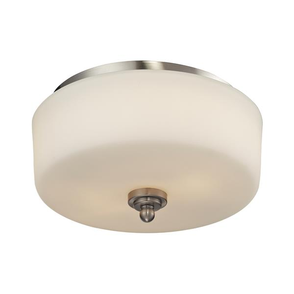 Z-Lite Cardinal 11.75-in Brushed Nickel 2-Light Flush Mount Light